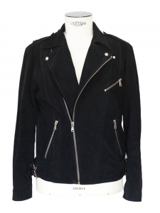 Black suede leather biker jacket Retail price €645 Size L