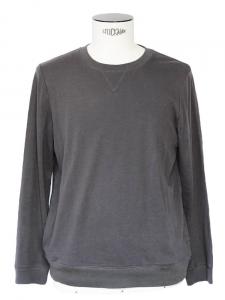Pull sweat col rond en coton et lin gris ardoise Px boutique 135€ Taille S