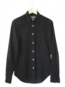 TOPMAN Black cotton and linen long sleeves shirt Size XS