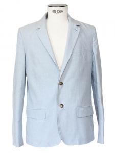 Veste blazer classique en twill de coton bleu clair Px boutique 390€ Taille M