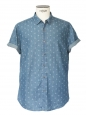 Blue cotton with white anchors short sleeves shirt Size XL