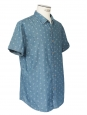 Chemise manches courtes en coton bleu et ancres blanches Taille XL