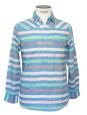 Pastel blue and green striped long sleeves light shirt Size XS