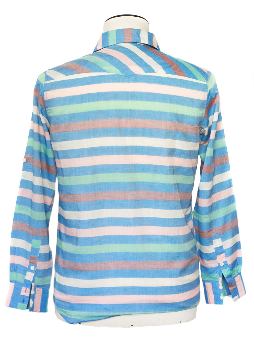 Louise Paris Thomsen Pastel Blue And Green Striped Long
