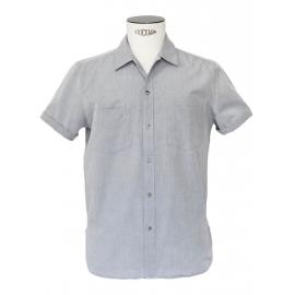 Chemise manches courtes en coton gris bleu clair Prix boutique 130€ Taille M