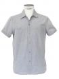 Chemise manches courtes en coton gris bleu clair Px boutique 130€ Taille M