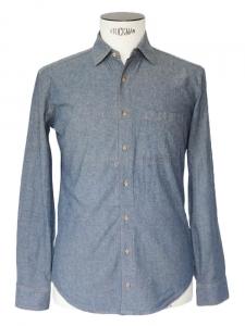 Denim blue chambrai cotton long sleeves shirt Size XS