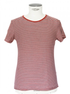 Red black white striped short sleeves shirt Retail price €75 Size XS