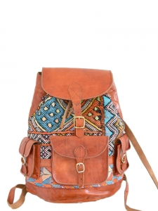 Tan brown leather and blue and yellow ethnic print wool fabric backpack