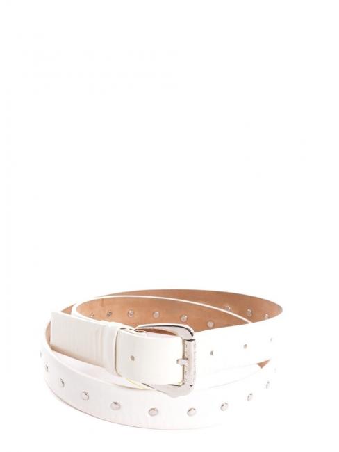 Ceinture en cuir glacé blanc à studs Px boutique 400€ Taille S