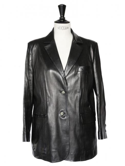 Luxury black lambskin leather blazer jacket Size 42