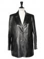 Veste blazer Couture en cuir d'agneau de luxe noir Taille 40/42