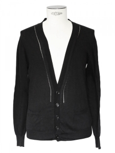 Black fine cotton openwork detail cardigan Retail price €480 Size S
