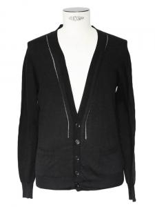 Gilet cardigan détail ajouré en coton fin noir Px boutique 480€ Taille S