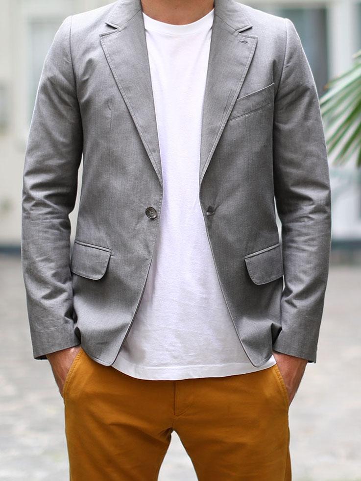 louise paris apc veste blazer classique en coton gris prix boutique 360 taille s. Black Bedroom Furniture Sets. Home Design Ideas