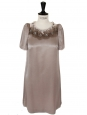 Swarovski crystal embroidered taupe silk dress Size 36/38