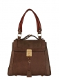 DARLA Chocolate brown leather and suede handbag Retail price €1295