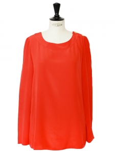 Bright red silk crepe long sleeves blouse Retail price 700€ Size L