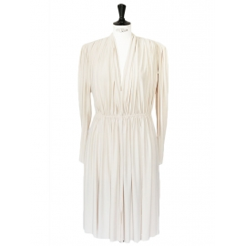 Ivory white long sleeves draped dress NEW Retail price 2000€ Size 38/40