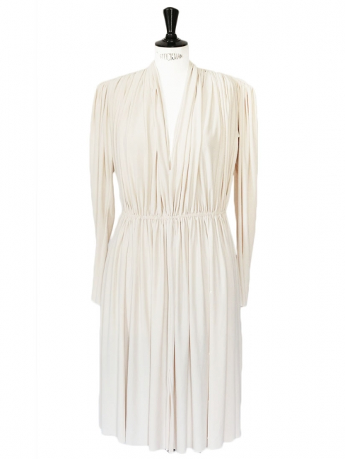 Robe manches longues drapée blanc ivoire NEUVE Px boutique 2000€ Taille 38/40