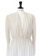 LANVIN Robe manches longues drapées blanc ivoire Px boutique 2000€ Taille 38/40
