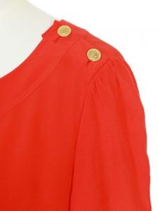 Blouse manches longues en soie rouge vermillon NEUVE Px boutique 700€  Taille 40 42 240a5d7e6cd