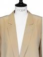 CHLOE Tan beige silk crepe padded shoulder blazer jacket Retail price €1300 Size 38