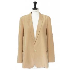 Veste blazer fluide en crêpe de soie beige camel Px boutique 1300€ Taille 38