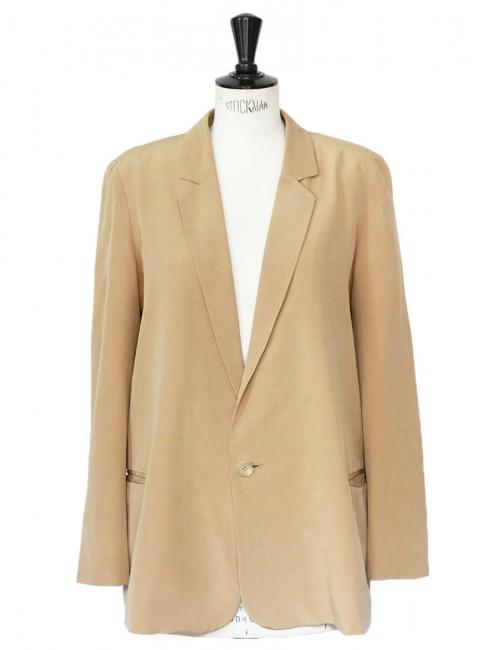 Tan beige silk crepe fluid blazer jacket Retail price €1300 Size 38
