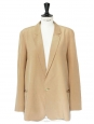 Tan beige silk crepe fluid blazer jacket Retail price €1300 Size 38