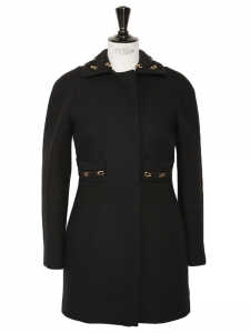 Gold chain embellished black wool coat Retail price 2000€ Size 34