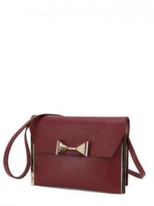 CHLOE Sac pochette RACHEL en cuir bordeaux et noeud doré Px boutique 895€