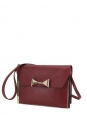 RACHEL bow-embellished burgundy leather shoulder bag/clutch Retail price €895