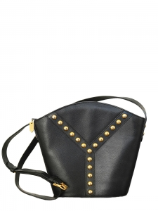 YVES SAINT LAURENT · Black grained leather studded