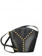 "Black grained leather studded ""Y"" crossbody bag Vintage 1980"