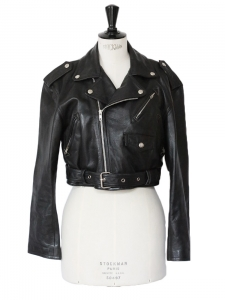 LES POUPEES Black leather cropped perfecto biker jacket Size 38