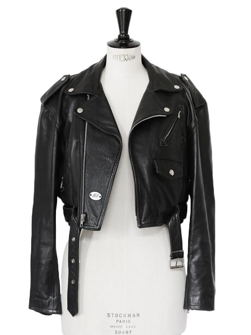 louise paris jean paul gaultier blouson perfecto biker court en cuir noir taille 38. Black Bedroom Furniture Sets. Home Design Ideas