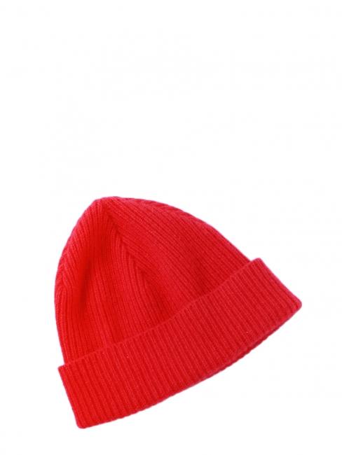 Bonnet tout doux en laine et angora rouge NEUF