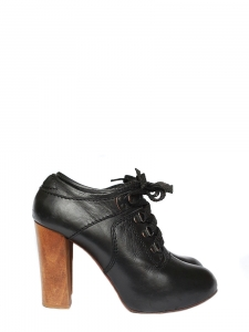 SILVERADO Black leather laced up low boots Retail price €550 Size 37