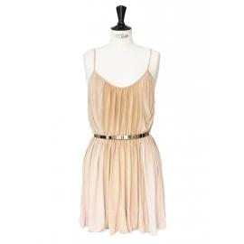 Robe de cocktail à fines bretelles en jersey beige rosé ceinture dorée Px boutique 950€ NEUVE Taille 36/38