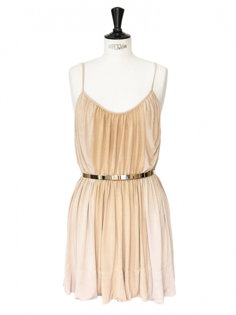 Pink beige jersey cocktail dress with gold metallic belt Retail price €950 Size 36/38