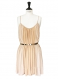 Pink beige jersey cocktail dress with gold metallic belt Retail price €950 Size 36/38
