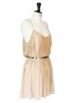 Robe de cocktail à fines bretelles en jersey beige rosé ceinture métallisée dorée Px boutique 950€ NEUVE Taille 36/38