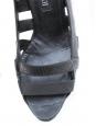 Escarpins sandales en cuir et toile noir Taille 37,5