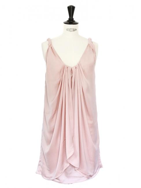 Robe de cocktail décolletée drapée rose pâle Px boutique 360€ Taille 34/36