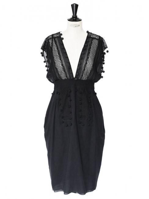Robe décolletée dos nu en dentelle et coton noir Px boutique 1500€ Taille 38
