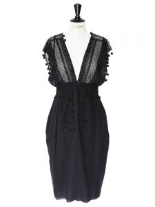 Robe décolleté en dentelle et coton noir Px boutique Taille