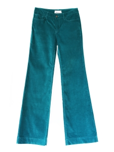 Blue green velvet wide leg flared pants Retail price €300 Size 38