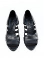 Black leather and canvas low heel sandals Size 37.5 / US 7