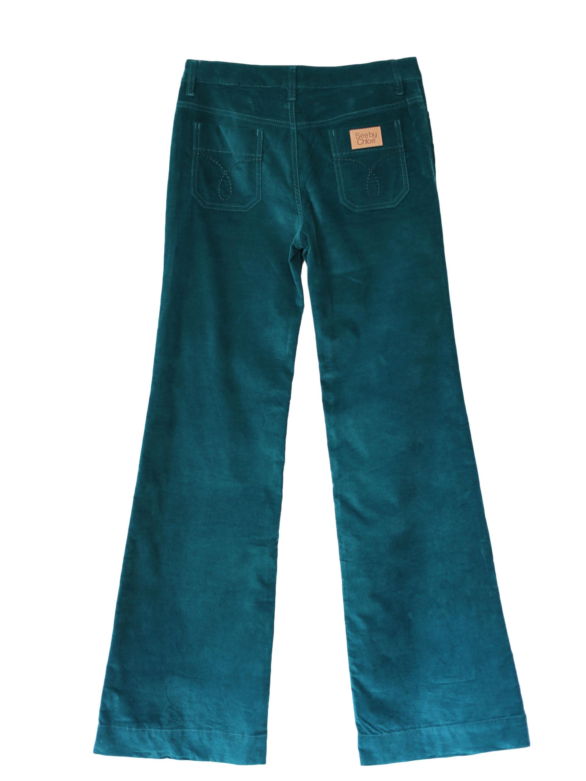 louise see by pantalon en velours bleu canard px boutique 300 taille 38